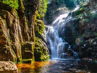 Kamienczyk waterfall near SzklarskaPoreba in Giant mountains or Karkonosze, Poland. Long time exposure.