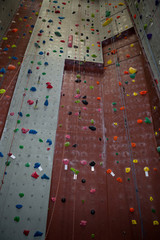 Wall with colorful footholds
