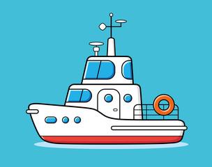 Motor yacht boat vector.