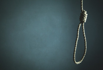Suicide rope. Scary and death concept