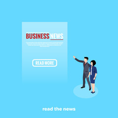 man and woman in business suits look at the text on a blue background, isometric image