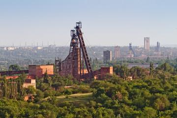 Industrial view of iron ore mine. Krivoy Rog, Ukraine