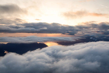 Aerial landscape view of Sunshine Coast during a vibrant and dramatic sunset. Taken Northwest of Vancouver, British Columbia, Canada.