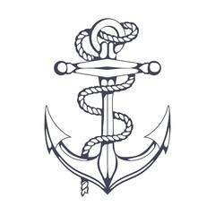 Anchor set. Hand Drawn anchor. Vector artwork.