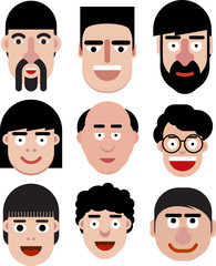 Set of cartoon vector men faces in very simple style