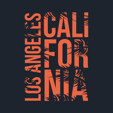 Los Angeles, California typography for t-shirt. Summer design. T-shirt graphic with tropic palms