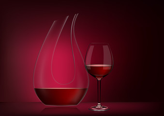 Vector illustration in photorealistic style.Image of a realistic glass transparent decanter with wine and full glass on red dark background.Object to enrich the saturation of wine with oxygen.Serving