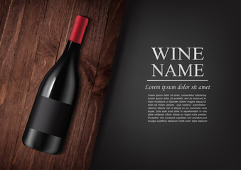 Advertising banner.A realistic bottle of red wine with black label in photorealistic style on wooden dark board,black background like chalk board,text.Wine presentation brochure.Vector illustration