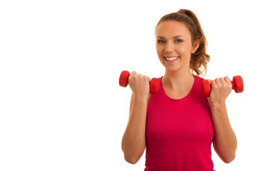 Beautiful young active fit woman workout with dumbbells isolated over white background - fitness