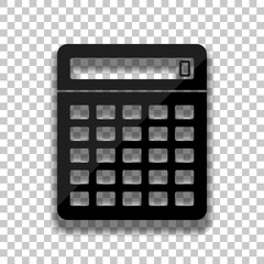 Calculator icon. Black glass icon with soft shadow on transparent background