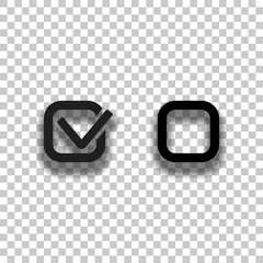 Checklist sign icon. Black glass icon with soft shadow on transparent background