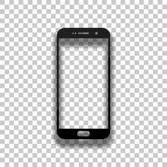 Sellphone icon. Black glass icon with soft shadow on transparent background