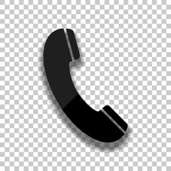 Telephone receiver icon. Black glass icon with soft shadow on transparent background
