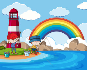 Kids Fishing next to Lighthouse in Sunny Day