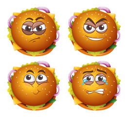 Burger Facial Expression on White Background
