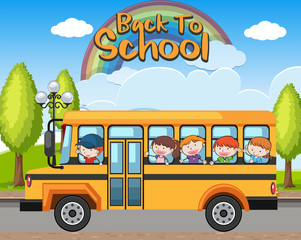 Back to School Bus and Students