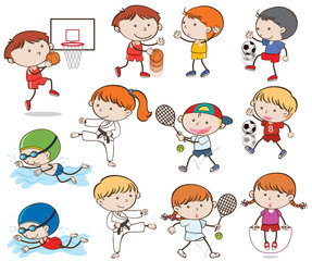 Doodle Kids Doing Sport Activities
