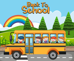 Kids in School Bus Back to School