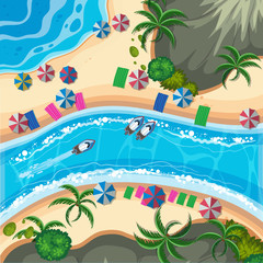 A Tropical Island from Top View
