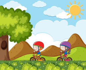 Kids Riding Bicycle in the Mountain
