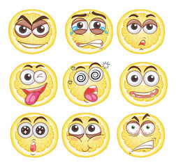 Lemon Faces Expression on White Background