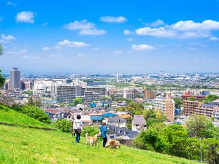 緑の丘と住宅街