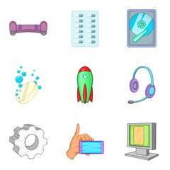 Wireless inventory icons set. Cartoon set of 9 wireless inventory vector icons for web isolated on white background