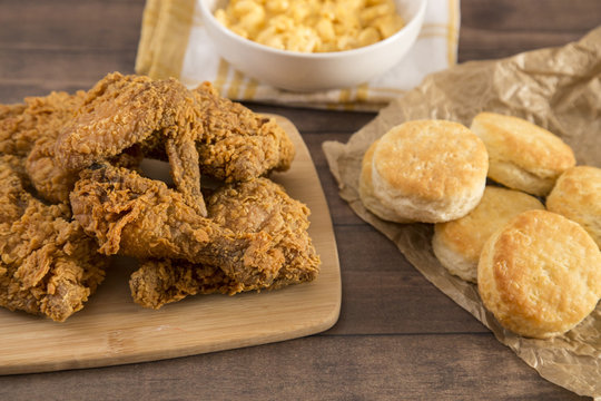 Classic Southern Fried Chicken on a Wooden Table