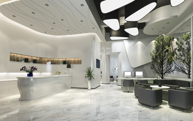 3d rendering modern luxury hotel reception and lounge
