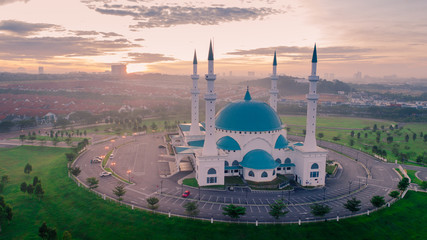 Aerial Photo - Sunrise at a mosque