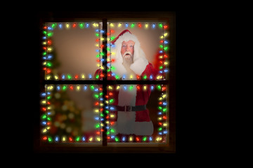 Santa is shocked to camera against christmas at home