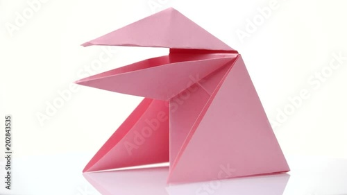 Pink Origami Frog Isolated On White Easy Paper Figure For Beginners
