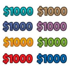 Illustration Vector of price 1000 dollars