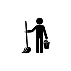 man washes floors icon. Element of cleaning and cleaning tools illustration. Premium quality graphic design icon. Signs and symbols collection icon for websites, web design