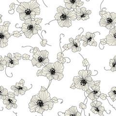 日本的な花の柄,