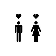 the guy broke the heart of the girl icon. Element of couples in love illustration. Premium quality graphic design icon. Signs and symbols collection icon for websites, web design