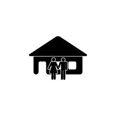 family near the house icon. Element of couples in love illustration. Premium quality graphic design icon. Signs and symbols collection icon for websites, web design, mobile app