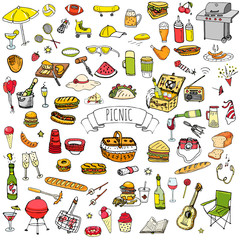 Hand drawn doodle Picnic icons set Vector illustration barbecue sketchy symbols collection Cartoon bbq concept elements Summer picnic Umbrella Guitar Food basket Drinks Wine Sandwich Sport activities