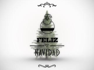 Feliz navidad banner against white background with vignette