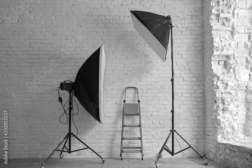 Two Studio Lighting Softbox And Ladder