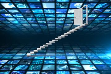 Stairs leading to door against walls of digital screens in blue