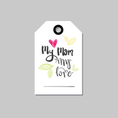 Happy Mothers Day Card Or Tag For Spring Holiday Sale Hand Drawn Isolated Vector Illustration