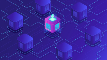 Isometric blockchain technology concept. Network, e-commerce, bitcoin trading, global cryptocurrency blockchain data transfer illustration on ultraviolet background. Vector 3d isometric illustration.