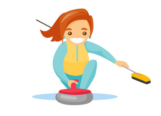 Caucasian white sportswoman playing curling on the ice rink. Curling player with a broom in hand delivering a stone and sliding over the ice. Vector cartoon illustration isolated on white background.