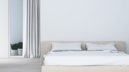 The interior hotel living and bedroom space - 3d rendering white background