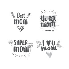 Mothers Day Set Of Lettering Calligraphy Labels Isolated On White Background Greeting Card Element Vector Illustration