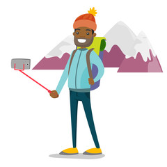 Young happy african-american traveler man with a backpack making selfie photos with selfie stick on cellphone. Tourism, hike, vacation concept. Vector cartoon illustration isolated on white background