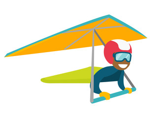 Black woman flying on hang-glider. Sportswoman taking part in hang gliding competitions. Woman having fun while gliding on delta plane in sky. Vector cartoon illustration. Horizontal layout.