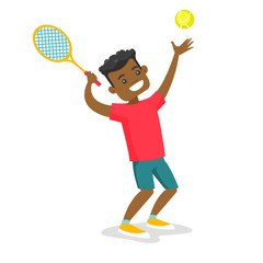 Black tennis player hitting the ball with a tennis racket. Young cheerful man playing tennis. Concept of sport and physical activity. Vector cartoon illustration isolated on white background