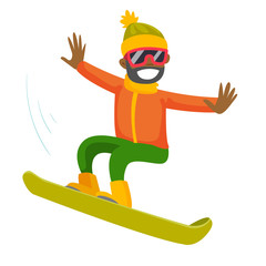 Young black man riding a snowboard. Hipster snowboarder snowboarding. Concept of sport and physical activity. Vector cartoon illustration isolated on white background. Square layout.